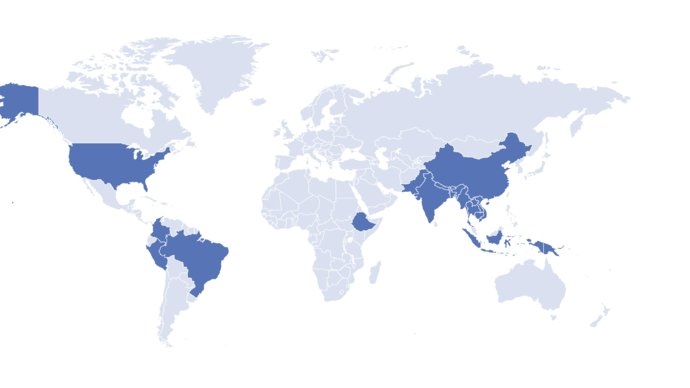 map of the world highlighting where studies have been conducted